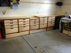 Work bench with custom drawers