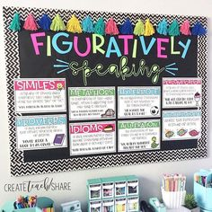 Figurative Language is one of my favorite things to teach!!! I just love how this board turned out. These posters are part of my Figurative…