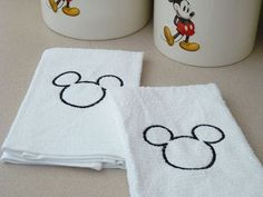Mickey Kitchen Towel Set  Custom Embroidered by hpiehl on Etsy, $18.00