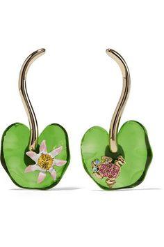 Oscar De La Renta Gold-tone, Resin And Swarovski Crystal Earrings In Multi Insect Jewelry, Swarovski Crystal Earrings, Contemporary Jewellery, Artisan Jewelry, Ear Piercings, Lily, Gems, Glitter, Jewels