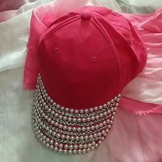 "Bedazzled  pink baseball cap Faux ""DIAMONDS AND PEARLS"" new never worn Other"