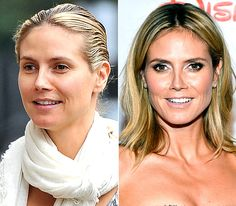 Heidi Klum  On left: running errands in New York City on Aug. 1, 2012  On right: attending the Children's Hospital Los Angeles Gala: Noche de Ninos in L.A. on Oct. 20, 2012