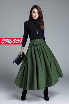 falda de lana verde invierno falda plisada ropa de moda
