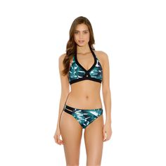 Eden offers an on-trend and modern collection, combining a chic palm leaf print with graphic elastic bands. The foam triangle bra offers support in up to a D cup, featuring foam padded cups without underwiring for a perfectly rounded shape.