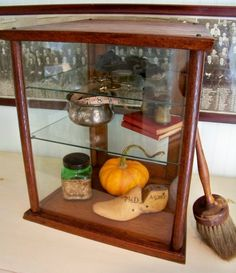 Antique Oak and Glass Display Case Counter by SundriesandSalvage