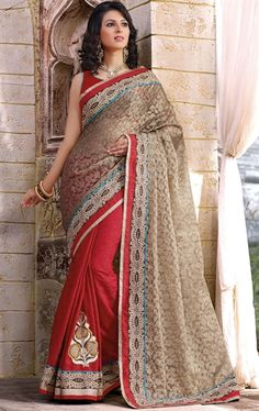 Picture of Stylish Red and Grey Color Fashion Designer Saree for Party