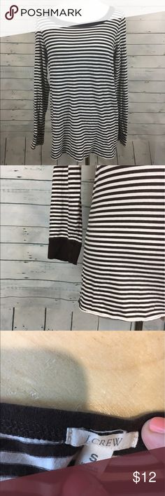 "J.Crew brown and white striped shirt top Women's J.CREW Brown and white striped long sleeve shirt.  armpit to armpit-15.5"" overall length-23"" J. Crew Tops Blouses"