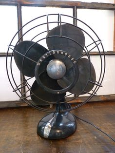RESERVED Vintage Industrial Art Deco Westinghouse Ocillating Metal Table Fan