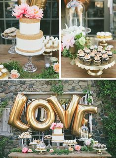 Gold LOVE balloons behind the dessert table. Great for a bridal shower or engagement party.