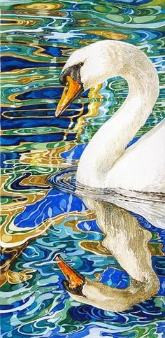 Swan in Reflection of a Canal Boat Window By Rhian Symes Limited edition print Width: Height: Media: watercolour Watercolor Bird, Watercolor Animals, Watercolor Paintings, Watercolors, Gravure Photo, Reflection Art, Reflection In Water, Art Aquarelle, Guache