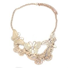 Gold Matte Butterfly Necklace