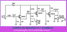 Maestro Fuzz-Tone FZ-1 correct schematic by simonm1965, via Flickr Guitar Chord Chart, Guitar Chords, Music Guitar, Guitar Amp, Distortion Pedal, Electronic Shop, Circuit Diagram, Electronic Engineering, Guitar Pedals