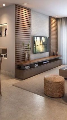 Meuble Tv Angle, Living Room Tv Unit, Living Room Decor, Living Room Designs, Be… - Home Decoraiton Home Living Room, Tv Wall Design, Bedroom Design, Cozy Family Rooms, House Interior, Living Room Design Modern, Living Room Tv Unit Designs, Living Room Tv Wall, Living Design