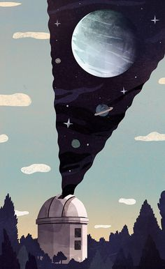 Here's a new illustration for the New Yorker! Astronomers at Caltech might have found a 9th planet in our solar system. An eccentric ice giant.  http://www.newyorker.com/tech/elements/discovering-planet-nine