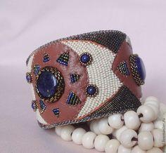 Купить Браслет ОСИРИС лазурит, кожа, бисер - браслет, браслет с камнями, Вышивка бисером, осирис