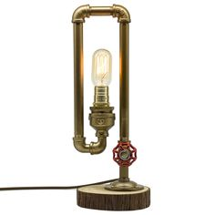 "Y-Nut Loft Style Lamp, ""The Thinker"", Steampunk Industrial Vintage Style, Wood Base Metal Body, Table Desk Light With Dimmer, LL-001 - - Amazon.com"