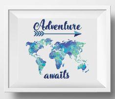 Adventure awaits cross stitch world map Watercolor cross stitch pattern PDF http://etsy.me/2BS1RkY #easycrossstitch #crossstitch #adventureawaits #crossstitchpattern #moderncrossstitch #crossstitchpdf #nikkipatternonetsy