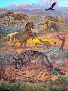 Part 2 of 3 in the California Triptych, William Stout, 2005, The San Diego Museum of Natural History A new scent had been spreading. An animal from the north, arrived just before the ice had receded, was leaking into the landscape. It emitted sour...
