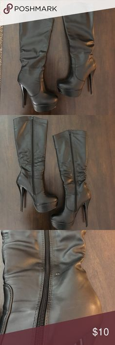 AMI Black Knee High Platform Boots AMI Clubwear black knee-high platform boots. Fit true to size, in good used condition. There is a scuff on the shaft of the left boot and an ident on the platform of the right boot (shown in pictures). Ami Shoes Heeled Boots