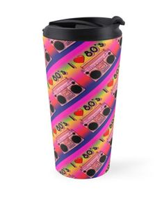 'Colorful Boombox Retro Pattern' Travel Mug by HavenDesign Retro Pattern, Boombox, Travel Mugs, My Coffee, Cyber, Colorful Backgrounds, Mall, I Shop, Group