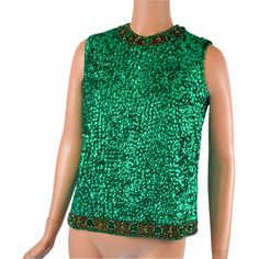 Vintage 1960s Sequinned and Beaded Kelly Green Evening Shell by Valentina Hong Kong Sz L B36 available from Alley Cats Vintage on Ruby Lane