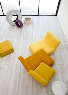 Sectional upholstered sofa CONFLUENCES by @Ligne Roset | Design Philippe Nigro #interior #yellow