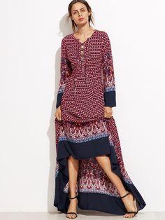 e5446c38962 Burgundy Ornate Print Contrast Trim Maxi Dress