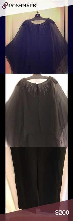 NWT NEIMAN MARCUS LONG BLACK BEADED GOWN Perfect dress! Really sleeveless but sheer sleeves cover your arms! Beaded front and back. Invisible zipper. Perfect for black tie event or black and white wedding. Dresses Wedding
