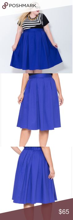 """HP!!!  Eloquii studio midi skirt in blue iris Gorgeous midi skirt in a deep, rich royal blue color. Cotton twill with an elastic waist in the back and a hidden back zipper with hook and eye closure. Unlined and pleated. Sadly much too long for my 5'0"""" frame! Skirt length is 29.5"""". NWT. Modeled in the cover shot by the beautiful @reahnorman!  HP on 6/23/16 in the Statement Style Party!  Eloquii Skirts Midi"""