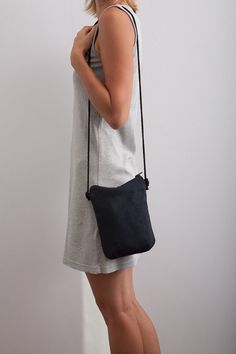 Navy Blue Vegan / Faux Suede Purse Small Bag Travel by Marewo, $25.00