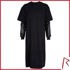 #RihannaforRiverIsland LIMITED EDITION Black Rihanna leather sleeve flannel dress. #RIHpintowin click here for more details >  http://www.pinterest.com/pin/115334440431063974/