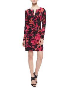 Reina Floral Daze Sheath Dress, Black/Pink by Diane von Furstenberg at Bergdorf Goodman.