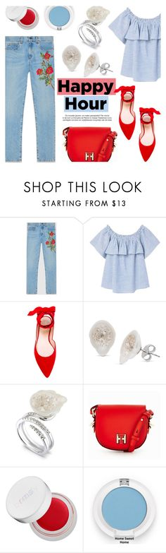 """Happy Hour!"" by littlehjewelry ❤ liked on Polyvore featuring Gucci, MANGO, Stuart Weitzman, Tommy Hilfiger and rms beauty"