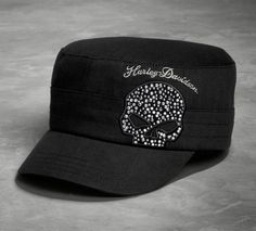 Trimmed with shiny skull bling on one of our most popular styles. | Harley-Davidson Women's Black Crystal Skull Flat Top Cap