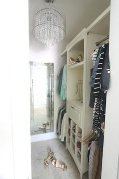 Create a beautiful walk-in closet using allen + roth organization pieces!