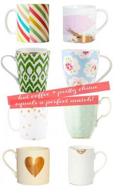 Ashley Brooke Designs- Pretty Coffee Mugs Coffee Talk, Hot Coffee, Coffee Shop, Coffee Cups, Tea Cups, Coffee Break, Smoothie Shop, Ashley Brooke Designs, Glamour Decor