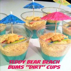 Teddy Bear Beach Bums Dirt Cups - use mini marsh mellows to make a snowman instead???  too tricky?
