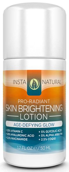 InstaNatural's Skin Brightening Lotion is a powerful restorative blend that provides a smooth and radiant complexion for uneven, splotchy and aging skin. Vitamin C, Niacinamide and Hyaluronic Acid work in tandem to replenish the skin's elasticity, suppleness and softness so that wrinkles, blotchiness and hyper-pigmentation are diminished over time. For smooth, clear and glowing skin, this daily lotion is the ultimate addition to your skincare regime.