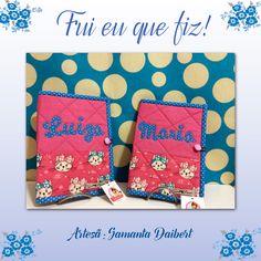 Capas de cartão de vacinação feitas pela artesã Samanta Daibert do Ateliê Sam Arteira. Os tecidos utilizados são da coleção Gatinhas, segundo ela, campeã de vendas nessa peça.