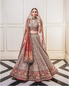 Red and beige embroidered Tarun Tahiliani bridal lehenga - Design interests Indian Bridal Outfits, Indian Bridal Lehenga, Indian Bridal Fashion, Indian Bridal Wear, Indian Designer Outfits, Wedding Lehnga, Wedding Dresses, Wedding Mandap, Wedding Hijab