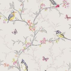 Birds and branches shabby chic dove wallpaper