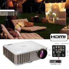 """""""Features & Benefits"""" EUG Full HD 1080P LED LCD Image System Home Theatre Cinema Projector 3600 Lumens Multimedia Outdoor Backyard Movie Projectors iPhone iPad Blu-ray Xbox TV Video Game with HDMIx2 USBx2 VGA AV Remote Key"""