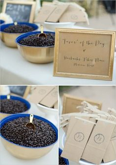 coffee roast wedding favors #coffee http://www.weddingchicks.com/2013/12/16/navy-and-gold-wedding/