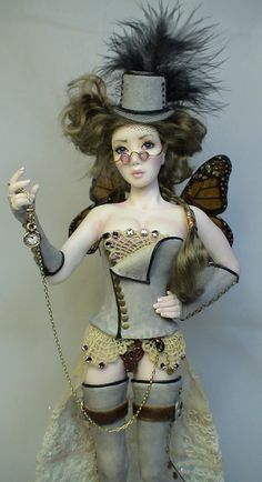 ooak art doll, Steampunk Timekeeper, sculpture by Barbara Kee