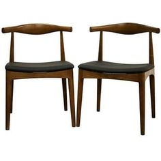 Shop for Mid-Century Black Faux Leather and Brown Wood Dining Chair 2-Piece Set by Baxton Studio. Get free shipping at Overstock.com - Your Online Furniture Outlet Store! Get 5% in rewards with Club O! - 13009866