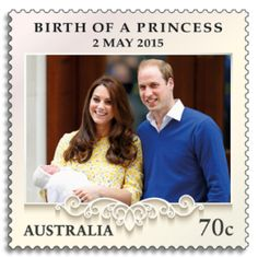 Australia 2015 stamp depicting William and Kate, the Duke and Duchess of Cambridge, with newborn Princess Charlotte