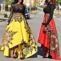 Trendy Ethnic Style High Waist High-Low Maxi Skirt Dress