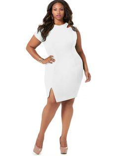 "The Monif ""Jennifer"" One Sleeve Cut Out Dress -White"