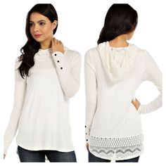 Alli Nicole Boutique - Lace Trim Hooded Top, $30.00 (http://www.allinicoleboutique.com/lace-trim-hooded-top/) #white #ivory #valentines #day #lace #crochet #outfits #fashion #winter #spring #clothing #sweater #tops