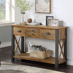 The stunning Urban Elegance Reclaimed Console Table is exquistly crafted from reclaimed wood and a distressed, powder coated steel frame. Environmentally friendly, using reclaimed timber with exceptional build quality Reclaimed Dining Table, Reclaimed Wood Furniture, Reclaimed Timber, Shoe Storage Cupboard, Small Console Tables, Hall Tables, Furniture Collection, Design, Steel Frame